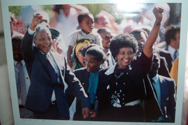 The famous photograph of Mandela and Winnie on his release from prison on 11 May 1990, on display at the Mandela House museum in Soweto.