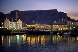 Table Mountain at night, from the waterfront