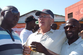 Enjoying the vibe at Mzoli's Place in Gugulethu