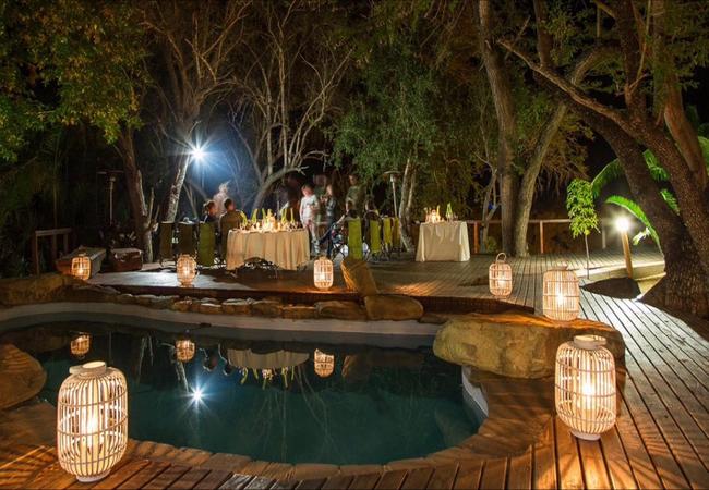 The Pool area at night at AmaKhosi Safari Lodge