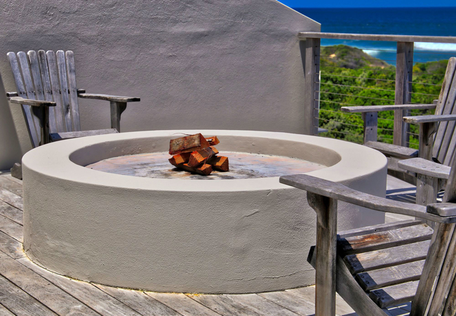 Fire pit on pool deck