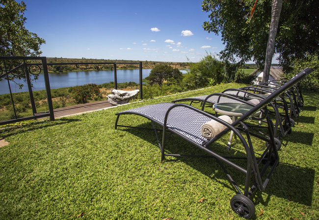 Sun loungers overlooking the Crocodile River