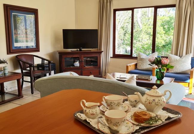 Lavendar kitchen and lounge