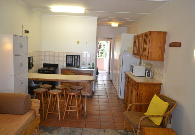 Living area and kitchen