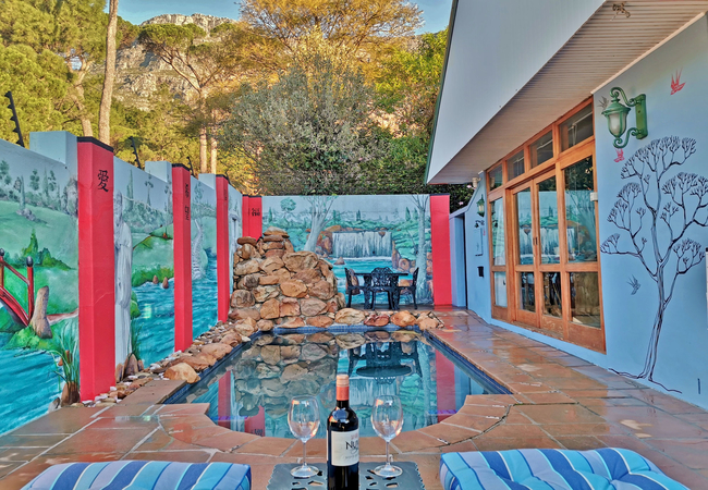 Solar-heated pool with views