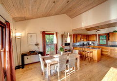 Open plan kitchen with dining area