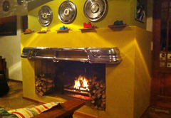Fireplace inside restaurant