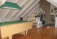 Pool table and gym equipment