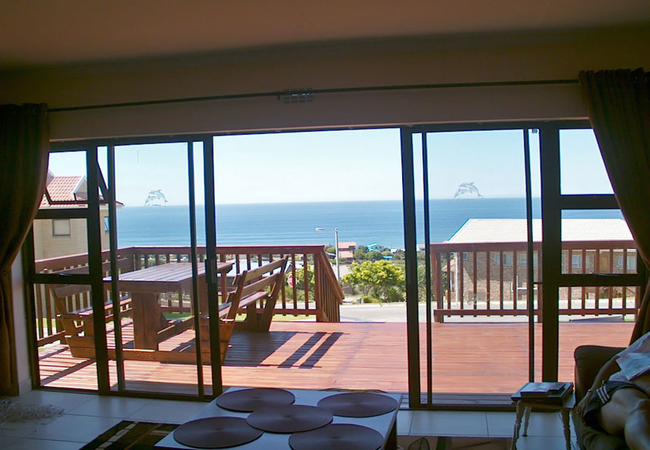 Living area with sea views