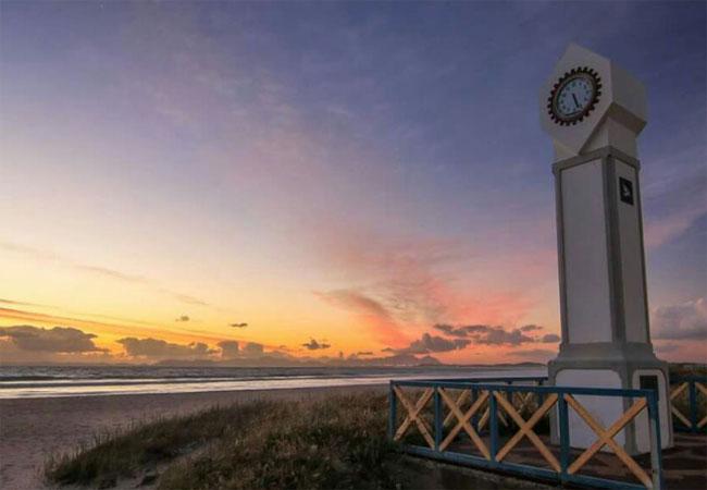 Strand beach and sunset