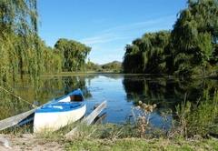 Canoe on dam