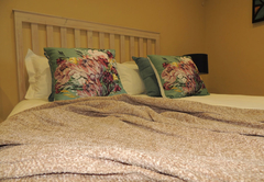 Queen size bed with linen