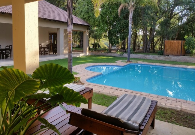 Swimming pool from the patio of Executive Suite