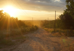 Access road in the sunset