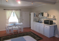 Downstairs bedroom and kitchen
