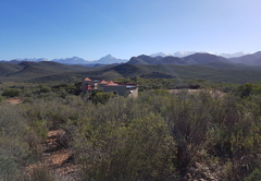 View of chalets and Swartberg mountains